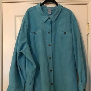 Turquoise long sleeve plus size shirt